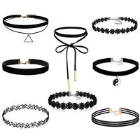 Choker Necklace for Women Girls Black Classic Velvet Stretch Gothic Tattoo Lace~