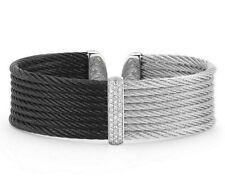 $1750 ALOR Noir Black / Grey Cable & White Gold Diamond Cuff Bracelet Size 6.25