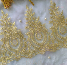 """1 Yards Lace Trim Gold Embroidery Flower Floral Wedding Bridal 11.8"""" Width"""