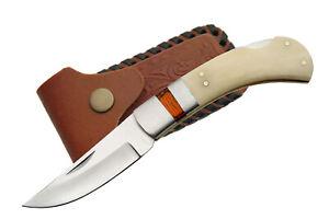 Beautiful Bone Handled Single Bolster Lock Back Folding Knife w/ Leather Sheath