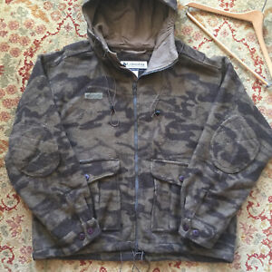 COLUMBIA ~ Gallatin Range Heavy Wool Brown Camo Hooded Hunting Jacket ~ XL ~ GC