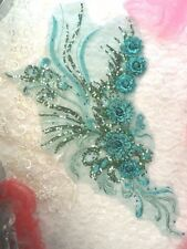 "Embroidered 3D Applique Teal Green Floral Sequin Patch 20"" (DH71)"