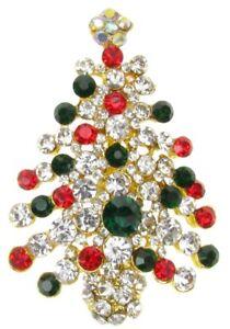 BROOCH CHRISTMAS TREE STOCKING VINTAGE PIN PARTY XMAS GIFT RHINESTONE NEW UK
