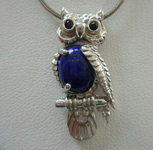 Sterling Silver 925 Oval Lapis Lazuli Owl Pendant  RE19AA