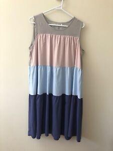 Blue Soul Size S Pink Blue Colourblock Boho Linen Sleeveless Midi Tent Dress