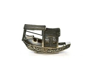 1930's Chinese Solid Silver Filigree Miniature Junk Boat Ship Marked 永盛隆