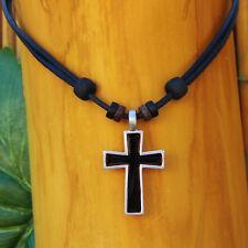 Halskette Lederkette Kreuz Schmuck Herrenkette Damenkette Kreuzhalskette Gothic