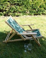 Wooden Sun Lounger Garden Deck Chair Reclining Folding Adjustable, Leaf Print