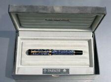 PARKER DUOFOLD 1988 CENTENNIAL BLUE MARBLE 18K GOLD FINE NIB CONVERTER CASE MINT
