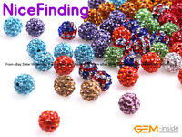 10 Pcs Clay Rhinestones CZ Crystal Pave Disco Ball Beads For Jewelry Making 10mm