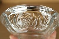 "Vintage KIG Indonesia 6"" Clear Heavy Glass 4 Slot Ashtray with Embossed Roses"