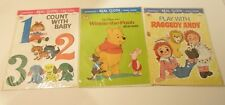 VINTAGE WHITMAN REAL COLTH BOOKS RAGGEDY ANDY WINNIE THE POOH & COUNT WITH BABY