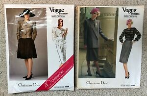 Vintage 80s CHRISTIAN DIOR Vogue Paris Original Sewing Pattern Jacket Skirt LOT