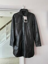 BNWT ZARA Black Real Genuine Leather Capsule Collection Shirt Dress Size XS