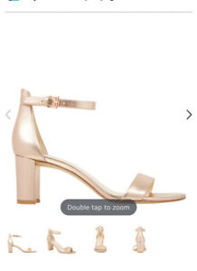 Nine West Leather Rose Gold Pruce Heels Size 8.5 Rrp $169.95 Sold Out Worn Once