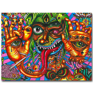Psychedelic Trippy Monster Abstract Art Silk Poster 13x20 24x36 inch
