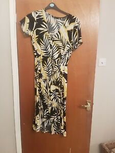 Dorothy Perkins Size 12 Black White Yellow Palm Dress