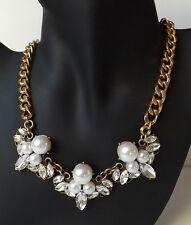 Perlen Collier Vintage Kette Halskette Strass Glas Navette weiß klar antik gold