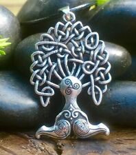 Antiqued Silver Plate Viking Celtic Tree Of Life Pendant Necklace