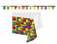 Block Table Cover & Birthday Letter Banner Lego Inspired Party Tablecloth  1 set