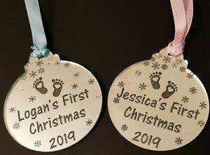 Personalised Baby's First Christmas Tree Bauble 1st Xmas Decoration Ornament