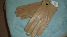 Ladies   Soft Leather Gloves From Lorenz Fawn With  Button Fastening Medium