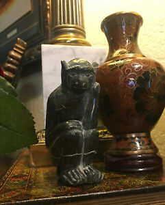 "4"" Chinese Black Xiu Jade jadeite Carving monkey Xiong Animal Statue Sculpture"
