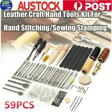 59Pcs Leather Craft Tools Hand Sewing Stitching Carving Work Set Kit Punch