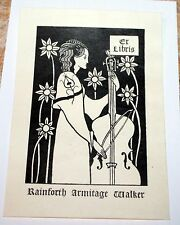 RAINFORTH ARMITAGE WALKER BOOKPLATE AUBREY BEARDSLEY WOMAN WITH CELLO 1893
