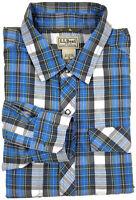 L. L. Bean Shirt XL Mens Long Sleeve Snap Button Down Blue Plaid Check Size Sz