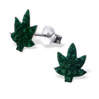 Sterling Silver 925 Green Crystal Leaf Stud Earrings