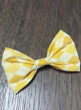 Mens Stylish! Easter Spring Pastel Yellow Geometric Bowtie Bow Tie Clip-on USA