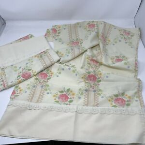 "*+2 Fieldcrest Perfection Floral Vintage Pillowcases 39""x20"" Cream Pink Lace Usa"