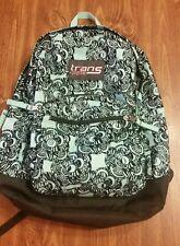 Jansport Trans Backpack Plush Black Lace Over Baby Blue Bookbag Laptop Sleeve