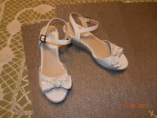 "NWOB ~ Nine West *Sz 5 Med* Pearl White Ankle Strap ESPADRILLE 2"" WEDGE SANDALS"