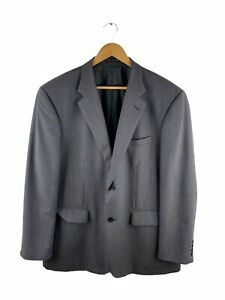 Studio Italia Button Up Blazer Suit Jacket Mens Size 116R Black Check 100% Wool