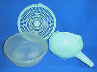 TUPPERWARE 3 Qt Colander #1835 & Seal #1836 and 2 Qt Strainer with Handle #1523