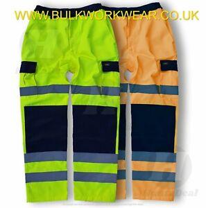Hi Viz Vis Two Tone Polycotton Cargo Trousers Work Combat Vis Visibility Pants