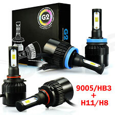 JDM ASTAR 2Pair 9005 H11 Combo 72W 6400LM LED Headlight Kit Bulbs 6500K White US