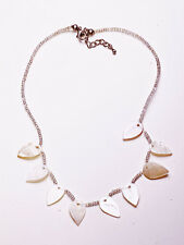 DELICATE OFF WHITE PEARLESCENT TEARDROP AND BEAD NECKLACE, ADJUSTS 5CM (ZX41)