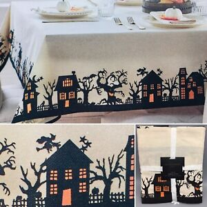 Cynthia Rowley Halloween Tablecloth Haunted House Spooky Tree Flying Witch 60x84