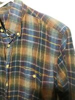 Robert Talbott Mens 100% Linen Plaid Short Sleeve Shirt Size Medium