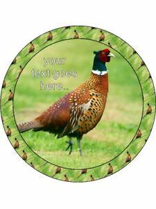 Pheasant game bird wildlife Green wafer or Icing edible Round Cake topper