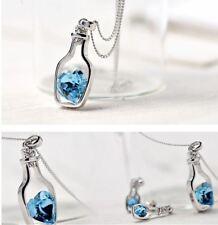 Women Crystal Rhinestone Love Heart Drift Bottle Pendant Necklace Chain Gift RD