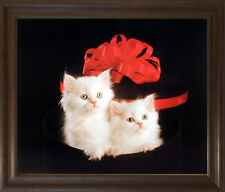 Cute Cats Persian Kittens with Red Bow Animal Wall Decor Art Framed Picture