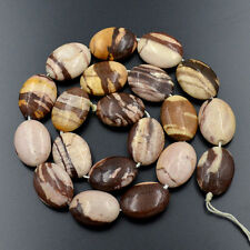 """15x20mm Natural Brown Striped Zebra Gemstone Flat Oval Spacer Loose Beads 15.5"""""""