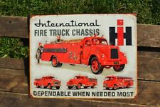 International Harvester Fire Truck Chassis Tin Metal Sign - IH - Fireman - Retro
