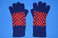 vintage 80s BLUE RED ACRYLIC KNIT LADIES WOMENS WINTER GLOVES
