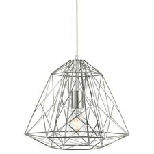 Ceiling Pendant Chrome Searchlight Geometric Cage Silver 7271CC NEW (K)