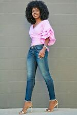 SAVANNAH PINK Ruched Puff Sleeve Waist Wrap Tie Bow Blouse/Shirt/Top S BHCS
